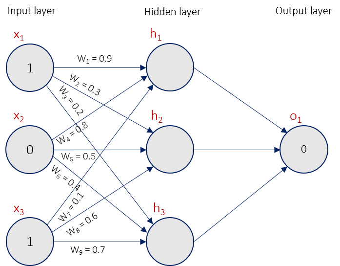 A three layer neural network with weights assigned and inputs 1, 0, 1.